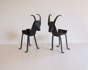 Mid Century Iron Goats // Pair of Swedish/Danish Candle Holders // Brutalist Candle Holders vintage