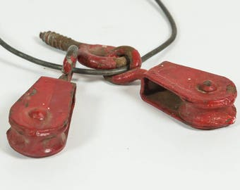 Little Red Pulleys, vintage industrial, pulley, red, pair, steampunk, assemblage, altered art supply, salvaged hardware, Metal pulleys