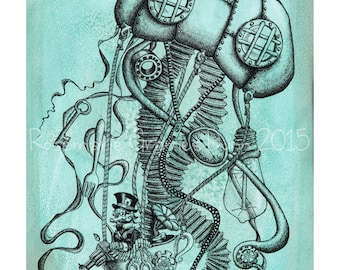 Steampunk Art Watercolor Jellyfish Industrial Blue Illustration
