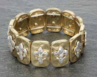 Fleur De Le Stretch Bracelet - Gold/Silver