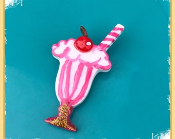 Strawberry Milkshake Resin Brooch Pinup Rockabilly Pin