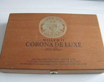 Vintage Corona De Luxe Wooden Cigar Box 1970s Made in Holland