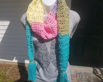 Patchwork Convertible Crochet Scarf, in Easter Basket ~READY TO ORDER!!~