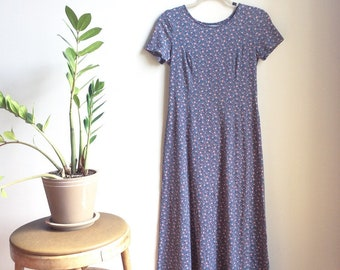 Floral maxi dress cotton floral dress 90s maxi dress 90s floral dress floral babydoll dress navy maxi dress 90s Laura Ashley dress small dre