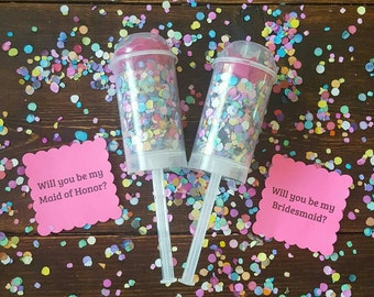 Bridesmaid Proposal, Maid of Honor Confetti Popper, Birthday Confetti Popper, Flower Girl Proposal, Push Pop, Wedding Confetti Poppers