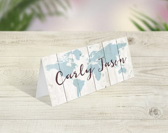 Travel Theme Wedding Place Cards, Wedding Place Names, Rustic Place Names, Wood image, Boho Table Decor, Destination Name, Tent Name Cards
