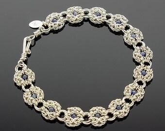 Handmade Sapphire Romanov Chainmaille Bracelet