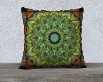 Green Square Pillow Case 22 x 22
