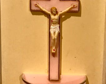 Vintage crucifix with holy water bowl 1960's pink Jesus 60's Christ cross prayer