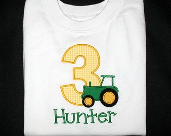 Custom Personalized Applique Birthday Number TRACTOR and NAME Shirt or Bodysuit - Yellow Gingham, Kelly Green, and Black