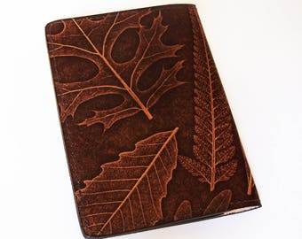 "Leaf Leather Field Notes or Moleskine Journal Cover - (Fits Any 3.5"" x 5.5"" Book) Handmade Brown Leather Notebook"