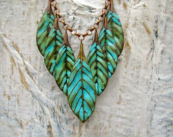 Turquoise statement necklace Inspirational necklace copper patina leaf necklace bohemian jewelry