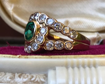 Reserved Emerald and pavé diamond ring 14k Size 6