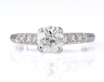 Vintage diamond engagement ring Vintage | 0.90 carat Old European cut | Platinum | art deco period Circa 1930 | GCAL certificate