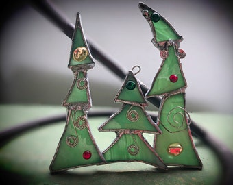 Stained Glass Whoville Christmas Tree ornament, Quirky, Grinch, Dr. Seuss