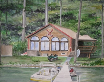 CUSTOM VACATION HOME Portrait, One of a Kind Realtor Closing Gift, Wedding or Housewarming Gift in Watercolor, Gift Certificate Avalilble