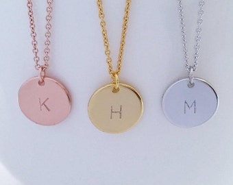 Personalized Initial Gold, Silver, Rose Gold Necklace, Hand Stamped Letter Necklace, Monogram Coin Necklace, Circle Pendant, Bridesmaid gift