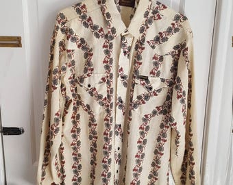 Vintage Wrangler Western Wear Floral Shirt Size Large Hipster Chic AS IS