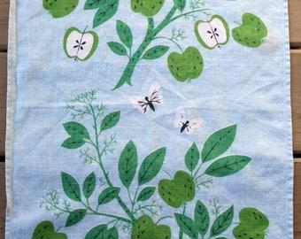 1950s IVAN BARTLETT Linen tea towel, blue an green, apple tree, mid century modern design