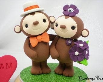 Custom Wedding Cake Topper--Monkey Love with Circle Clear Base
