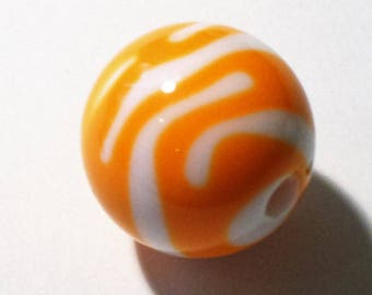 1 orange and white striped round Bead 20mm AR361 orange