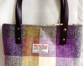 Harris Tweed Hand Made Firm Hand Bag in Olive Green, Cream and Lilac w/Spotty Linen Lining, Internal Zip Pocket, Magnetic Snap & PU Handles