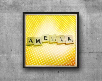 AMELIA - Name Art - Scrabble Tile Name - Art Photo - Photography Art Print - Name Sign