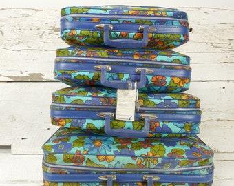Ensemble de 4 bagages Flower Power valise voyage cas des années 70 flower power rétro voyage Vintage Japon