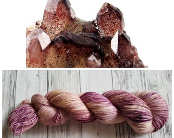 Hand Dyed Yarn, Superwash Merino Worsted Weight Tonal Yarn Perfect for Hats, Cowls, Scarves and Sweaters - Harlequin Fire Quartz
