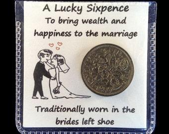 Wedding Lucky Sixpence Brides Shoe Gift Keepsake