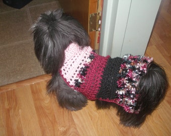 Dog sweater - EVENING DRAMA - with feather boa fringe - Valentine - 2 to 20 lbs- made to order