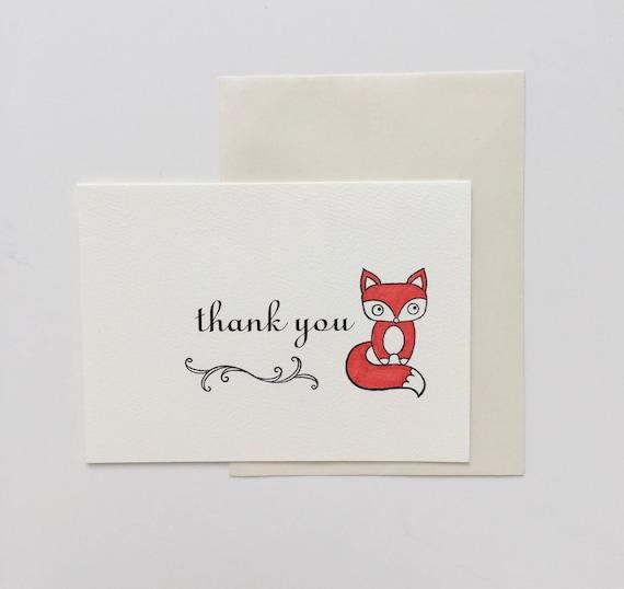 Fox Thank You Cards Thank You Card set  fox baby shower thank you card birthday thank you card