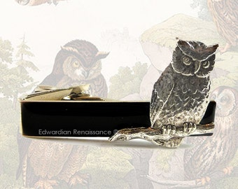 Steampunk Owl Tie Clip Harry Potter Inspired Tie Bar Vintage Style Tie Bar Accent Custom Color Options