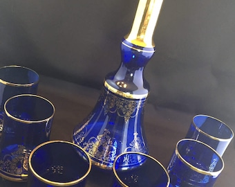 Blue Decanter with Gold Filigree and Six Glasses
