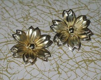 Vintage Metal Gold Tone Clip-On Earrings