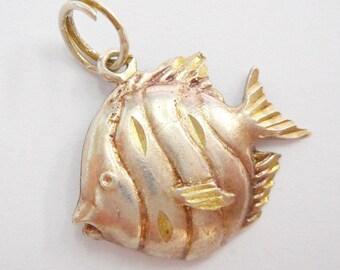 Fish Charm, Sterling Charm, Vintage Charm, Traditional Charm, Vintage Sterling Silver Fish Traditional Dangle Charm #3268