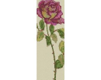 Vintage Rose 2 Peyote Bead Pattern, Bracelet Cuff, Bookmark, Seed Beading Pattern Miyuki Delica Size 11 Beads - PDF Instant Download