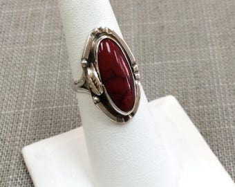 Vintage Native American  925 Sterling Silver Ring With Red Coral. Size 6.5 US Free US First Class Shipping!!!