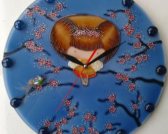 Sakura Wall Clock for kids room Stained glass Painting  Gift for kids Gift for girl Unique wall clock