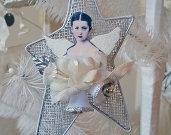 mixed media Christmas ornament  - angel - star - NO491