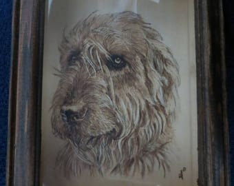 """Pet Potrait Wood Burn 3-D Shadow Box Made to Order 7.5"""" x 5.75"""" x 2"""" Inner panel is 5 x 7 inches Irish Wolfhounds by Shannon Ivins"""