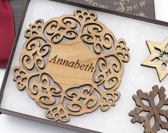 Personalized Ornament - Christmas Snowflake Gift Box Set - Custom Engraved Wood Snowflake - Cherry Wood - Made in the USA. Annabeth