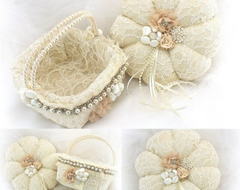 Vintage Style Flower Girl Basket Ring Bearer Pillow Ivory Champagne Pearls Lace Wedding Ring Pillow Lace Flower Girl Basket  Square Basket