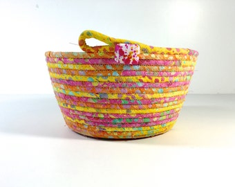 Clothesline Basket - Sunny Yellow Orange Pink -  Handmade Batik Coiled Rope Bowl- Fabric Bowl Organizer- OOAK Fiber Art- Quilted Gift Basket