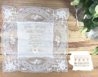 Antique vintage lace wedding handkerchief invites - each hankie one of a kind - 2 ink colour choices - price per hankie & based on quantity