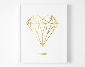 Shine Bright like a Diamond art print download, Printable, Nursery Art, Girls Bedroom Decor, Gold Foil, Gold Leaf Art,Gold Quote Print