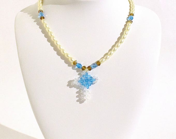 Faux Pearl, Light Blue and Amber Beaded Cross Necklace- crafted by Nepalese human trafficking victims