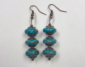 Copper and Turquoise Magnesite  Earrings