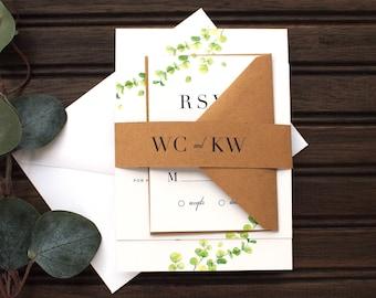Modern Eucalyptus Wedding Invitation | Eucalyptus Kraft Wedding Invitations, Modern Invitation, Eucalyptus Illustration Wedding Invitation