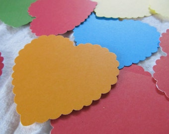 2 3/4 inch SCALLOPED HEARTS-- colored cardstock -- assorted colors (lot of 24 pieces)